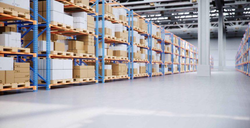 Warehouse with cardboard boxes inside on pallets racks, logistic center. Huge, large modern warehouse. Warehouse filled with cardboard boxes on shelves, boxes stand on pallets. 3D Illustration